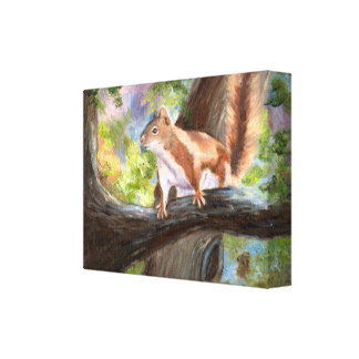 Here's Looking At you Squirrel Wrapped Canvas
