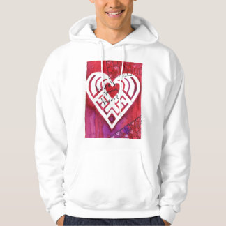 Here's My Heart Mixed Media Valentine Hoodie