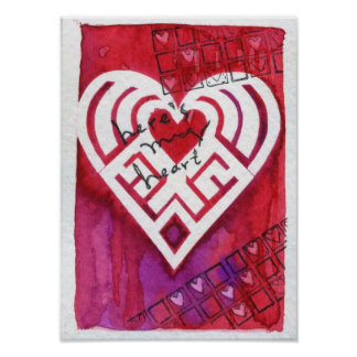 Here's My Heart Mixed Media Valentine Poster
