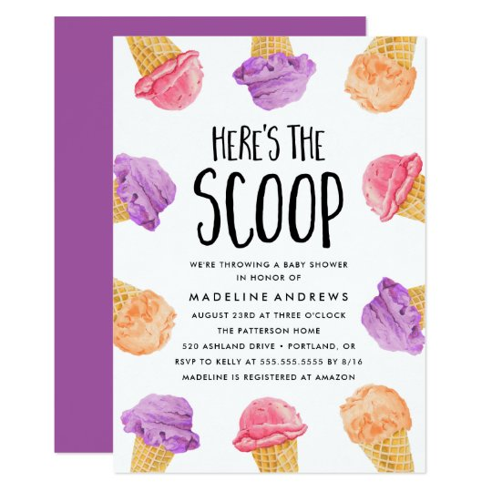 5f254408184 Here s The Scoop Ice Cream Baby Shower Invitation