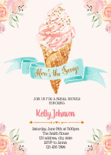 65fd28f4a16 Heres the scoop theme invitation