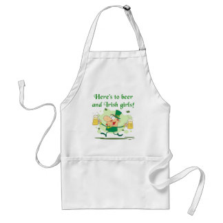Here's to Beer and Irish Girls T-shirts and Gifts Adult Apron