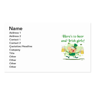 Here's to Beer and Irish Girls T-shirts and Gifts Double-Sided Standard Business Cards (Pack Of 100)