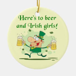 Here's to Beer and Irish Girls T-shirts and Gifts Christmas Tree Ornaments