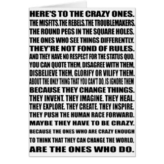 Here's To the crazy ones! Stationery Note Card