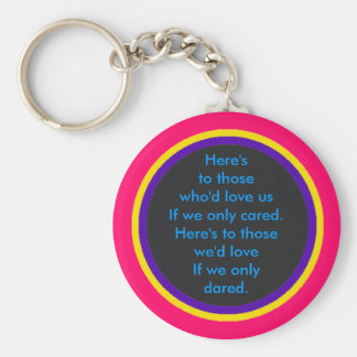 Here's to those who'd love us If we only cared. Key Chains