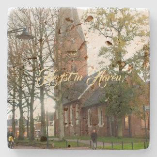 Herfst in Haren Dorpcentrum Netherlands Holland Stone Coaster
