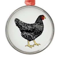 Heritage Breed Laying Hen - Barred Plymouth Rock Metal Ornament