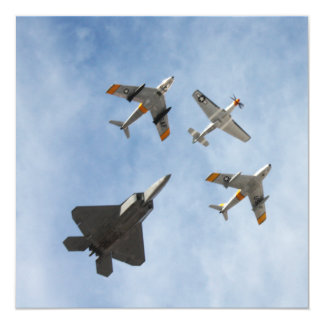 Heritage - P-51 Mustang,F-86-F Saber,F-22A Raptor 5.25x5.25 Square Paper Invitation Card