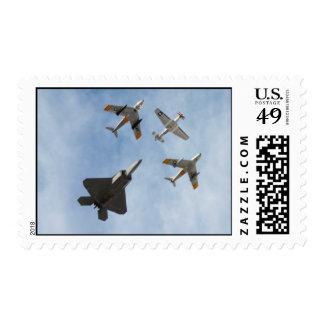 Heritage - P-51 Mustang,F-86-F Saber,F-22A Raptor Postage Stamp