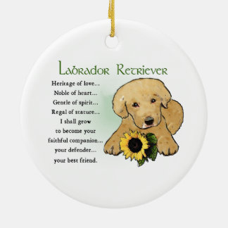 Heritage Yellow Lab Puppy Gifts Ceramic Ornament