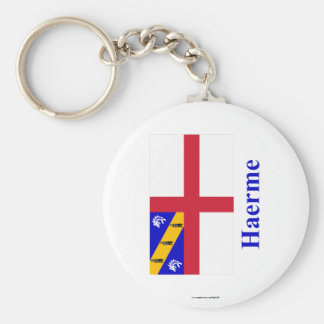 Herm Flag with Name in Guernesiais Keychain