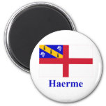 Herm Flag with Name in Guernesiais Refrigerator Magnets