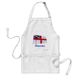 Herm Waving Flag with Name in Guernesiais Adult Apron