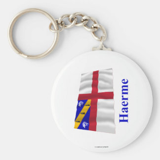 Herm Waving Flag with Name in Guernesiais Key Chains