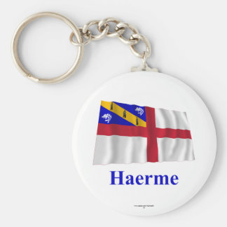 Herm Waving Flag with Name in Guernesiais Keychain