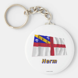 Herm Waving Flag with Name Keychains