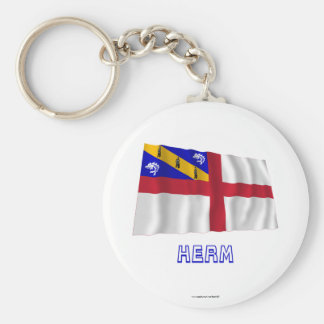 Herm Waving Flag with Name Key Chain