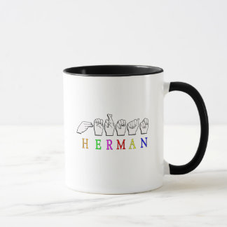 HERMAN ASL FINGER SPELLED NAME SIGN MUG