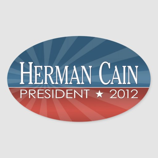 Herman Cain 2012 Oval Stickers