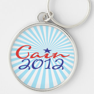 Herman Cain 2012 Silver-Colored Round Keychain