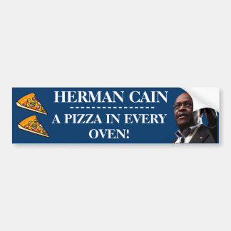 Herman Cain: A Pizza In Every Oven-Blue Background Bumper Sticker