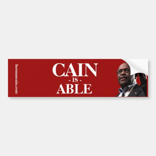 Herman Cain: Cain Is Able - Red Background Bumper Stickers