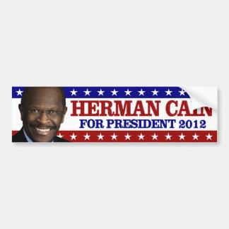 Herman Caín para el presidente 2012 Pegatina Para Auto