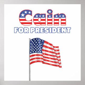 Herman Caín para la bandera americana de president Impresiones