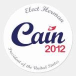 Herman Caín para los pegatinas del presidente 2012 Pegatina Redonda