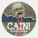 Herman Caín para presidente Sticker del zombi Etiquetas Redondas
