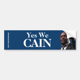 Herman Cain: Yes We CAIN - Blue Background Car Bumper Sticker