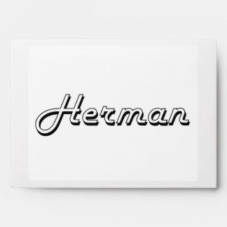 Herman Classic Retro Name Design Envelopes