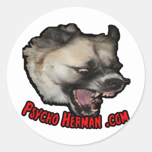 Herman psico .com pegatina redonda