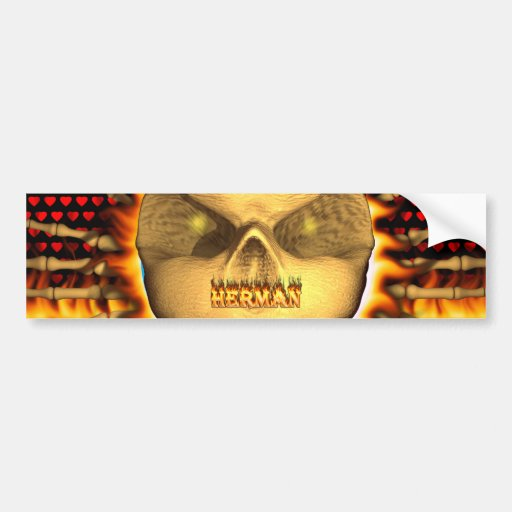 Herman skull real fire and flames bumper sticker d car bumper sticker