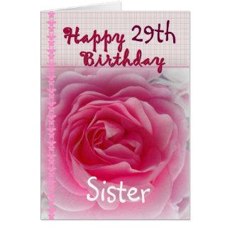 HERMANA - 29no cumpleaños feliz - color de rosa Tarjeta De Felicitación