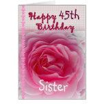 HERMANA - 45.o cumpleaños feliz - color de rosa Felicitacion
