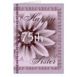 HERMANA - 75.o cumpleaños feliz - flor de la LAVAN Tarjeton