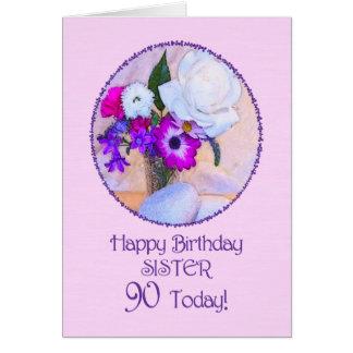 Hermana, 90.o cumpleaños con las flores pintadas tarjeta de felicitación