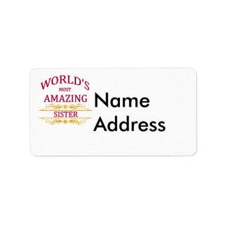 Hermana asombrosa etiquetas de dirección