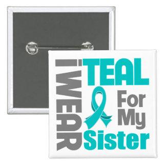 Hermana - ayuda del cáncer ovárico de la cinta del pin cuadrado