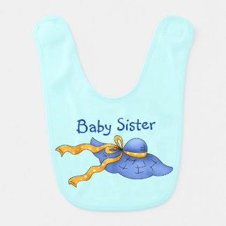 Hermana azul personalizada país del bebé del capo baberos para bebé