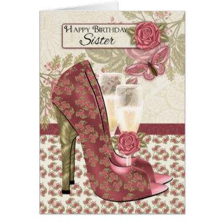 Hermana Champán y mariposa de los zapatos y Tarjeta De Felicitación