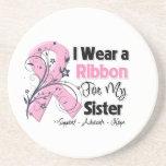 Hermana - cinta del rosa del cáncer de pecho posavasos cerveza