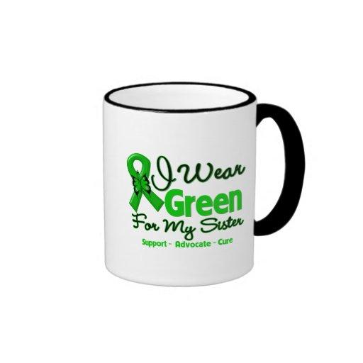 Hermana - cinta verde de la conciencia taza