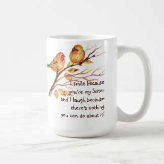 Hermana de la diversión que dice con los pájaros taza de café