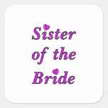 Hermana de la novia del amor simplemente calcomania cuadradas personalizada