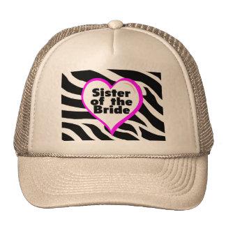 Hermana de la novia (estampado de zebra del corazó gorras