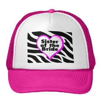 Hermana de la novia (estampado de zebra del corazó gorras de camionero