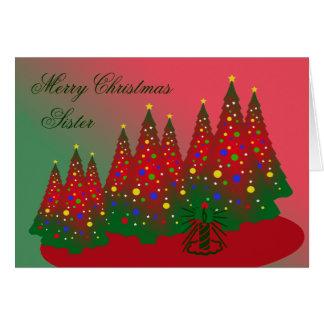 Hermana de las Felices Navidad: Árbol rojo y verde Tarjeta